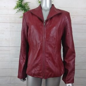 Siena Red Leather Full Zip Jacket Medium